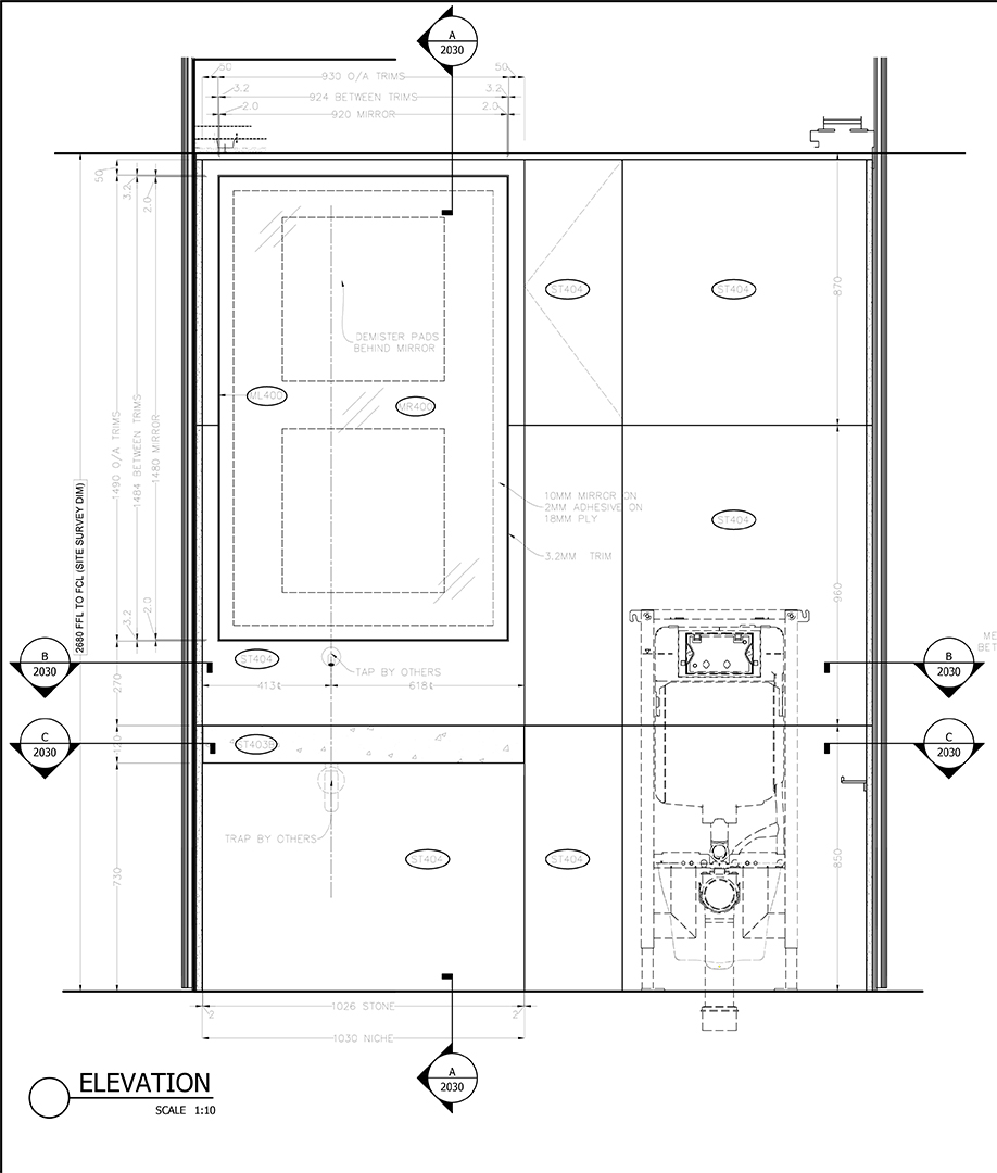 Type A Vanity Unit Elevation